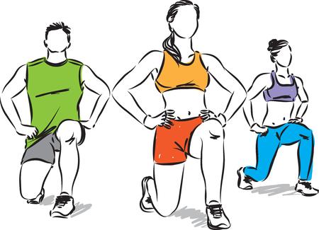 FITNESS GROUP OF PEOPLE STRETCHING VECTOR ILLUSTRATION