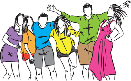 happy friends people together vector illustration Illustration