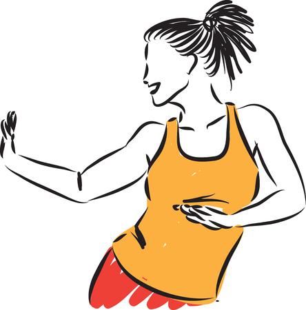 fitness pretty woman dancing vector illustration