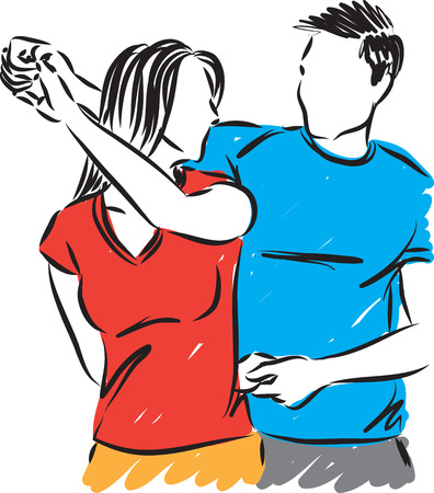 young couple man and woman dancing vector illustration