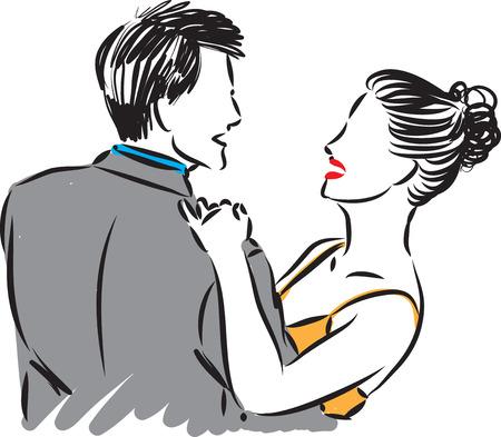 elegant couple man and woman dancing vector illustration