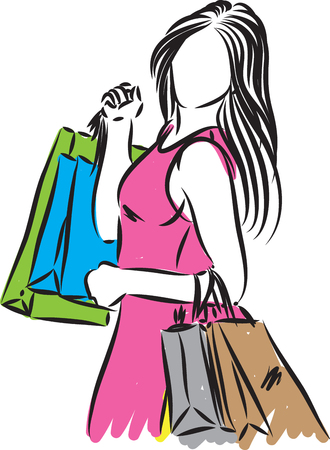 shopping girl with bags vector illustration