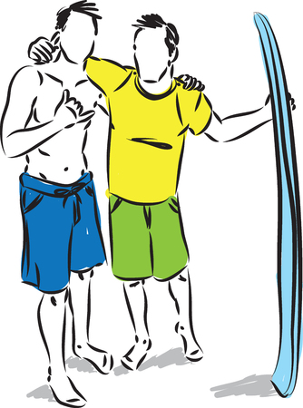 two men friends with a surfboard vector illustration 일러스트