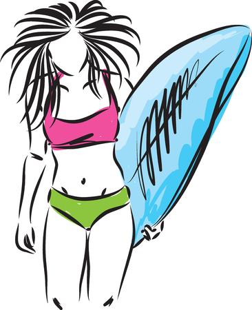 surf girl with surfboard vector illustration Illustration