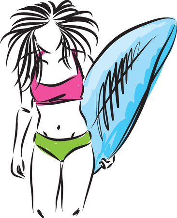 surf girl with surfboard vector illustration Ilustrace