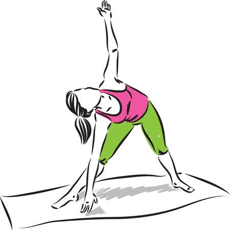 yoga pretty woman stretching vector illustration