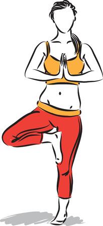 woman yoga meditation posture vector illustration
