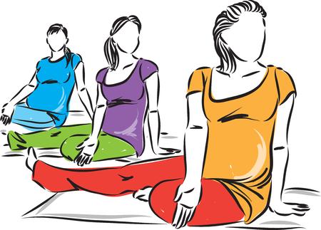 pregnant women yoga fitness vector illustration 向量圖像