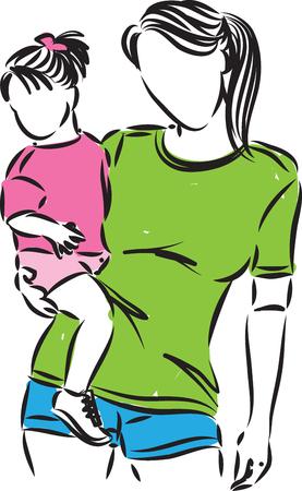 Mutter und Tochter-Vektor-Illustration