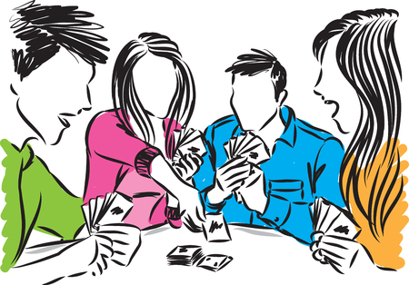 FRIENDS TOGETHER PLAYING CARDS VECTOR ILLUSTRATION