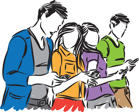 YOUNG PEOPLE LOOKING CELLPHONES VECTOR ILLUSTRATION