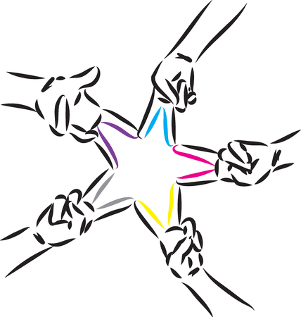 STAR MADE OF FINGERS FIGURE COLORS VECTOR ILLUSTRATION