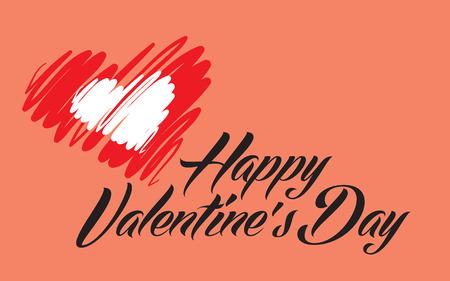 Happy Valentines Day lettering pink back vector illustration 일러스트