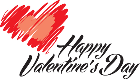 Happy Valentines Day lettering vector illustration