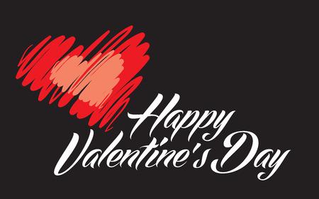 Happy Valentines Day lettering inblack back vector illustration