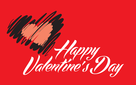 Happy Valentines Day lettering red in back vector illustration 일러스트