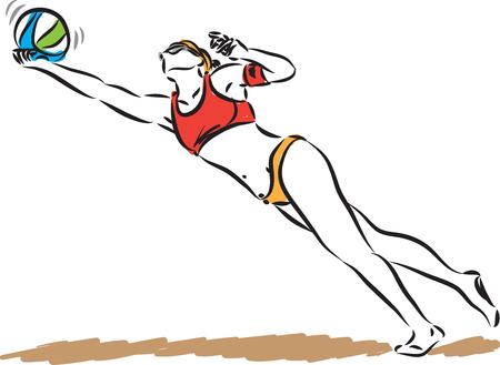 volley beach woman player vector illustration Illustration