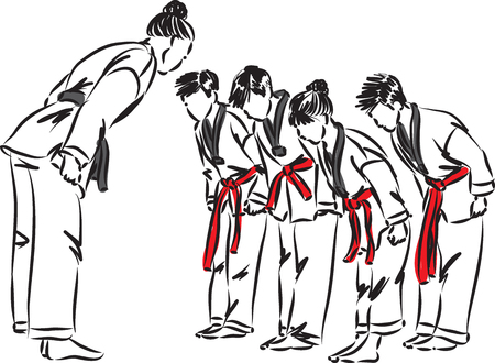 tae kwondo class with students vector illustration