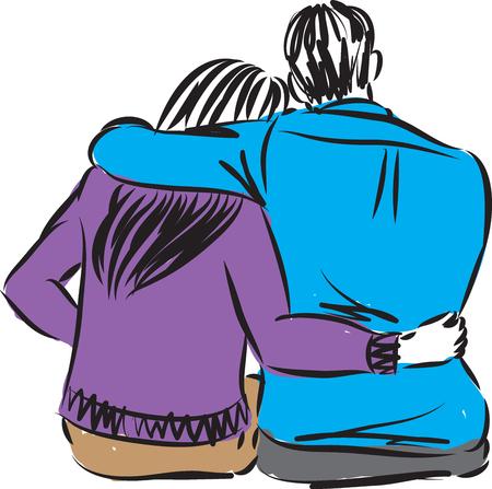 ROMANTIC COUPLE SITTING DOWN VECTOR ILLUSTRATION Illustration