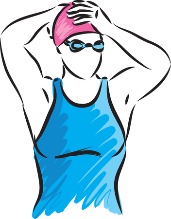 professional swimmer vector illustration2 Ilustrace