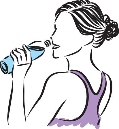 PRETTY WOMAN DRINKING BOTTLE OF WATER Illustration