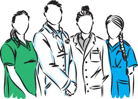 personnel médical, docteur, infirmière, vecteur, illustration Vecteurs