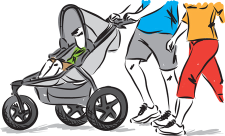 baby in stroller with parents vector illustration