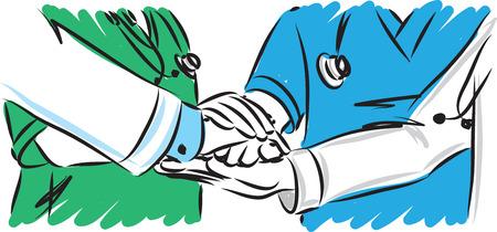 Illustrazione di vettore di concetto di lavoro di squadra del personale medico Vettoriali