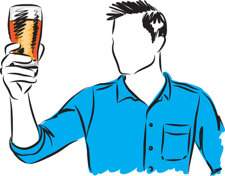 Man wifi beer clase Hector illustration