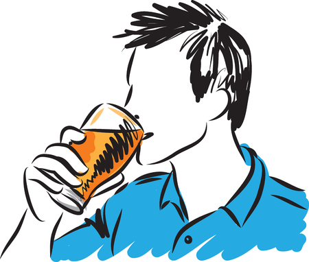 YOUNG MAN DRINKING GLASS OF BEER VECTOR ILLUSTRATION