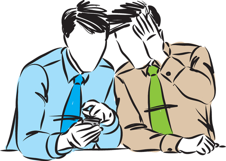 TWO BUSINESSMEN LOOKING CELLPHONE VECTOR ILLUSTRATION Çizim