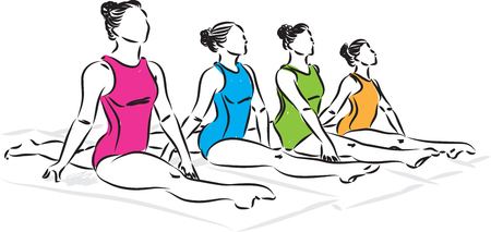 group of girls gymnastic vector illustration