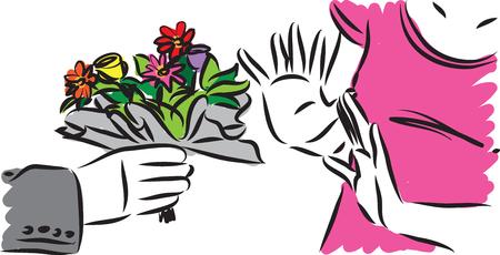 woman refusing flowers from man vector illustration Illustration