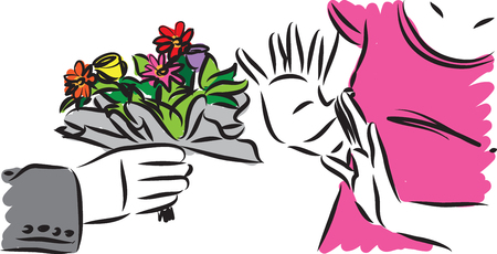 woman refusing flowers from man vector illustration Ilustrace
