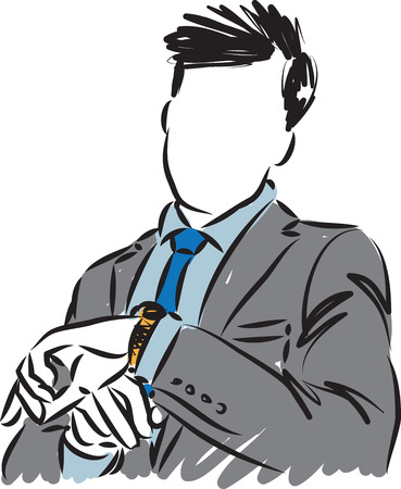 businessman looking watch time concept vector illustration