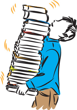 boy carrying tower of books vector illustration