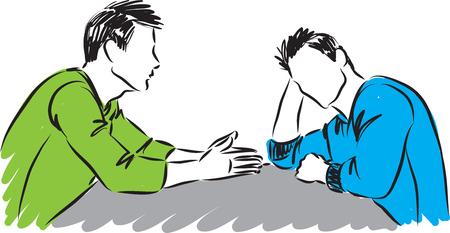 two man talking together vector illustration