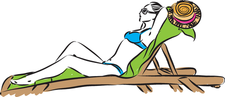 woman at the beach tanning vector illustration Ilustração