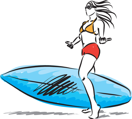 surfer girl with surf board vector illustration