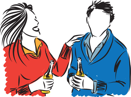 MAN AND WOMAN DRINKING BEER VECTOR ILLUSTRATION
