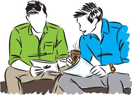 TWO BUSINESSMEN WORKING TOGETHER VECTOR ILLUSTRATION 일러스트
