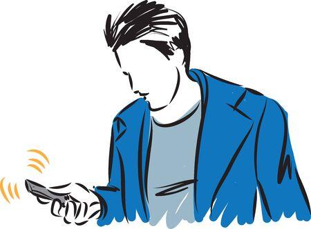 man looking cellphone vector illustration Çizim