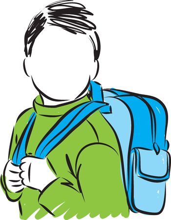 little child with backpack school concept vector illustration 일러스트