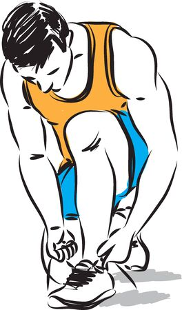 FITNESS MAN TIGHTENING SHOES LACES VECTOR ILLUSTRATION