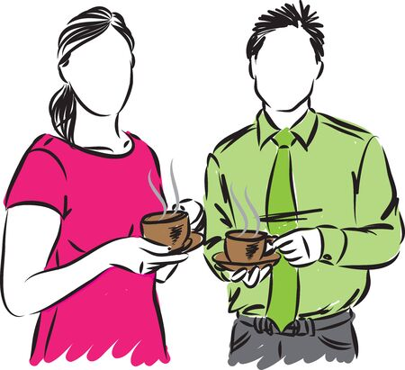 businessman and businesswoman with cup of coffee vector illustration
