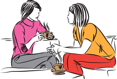 zwei Frauen, die zusammen mit einer Tasse Kaffee-Vektorillustration sprechen