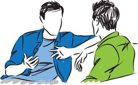 deux hommes, parler ensemble, vecteur, illustration