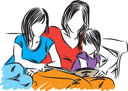 mother with daughters vector illustration