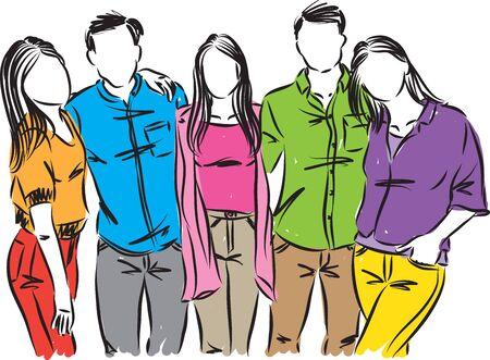 amigos, adolescentes, gente, vector, ilustración