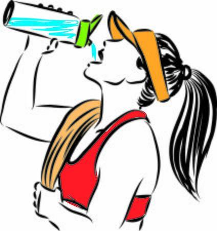 thirsty fitness woman vector illustration Ilustração